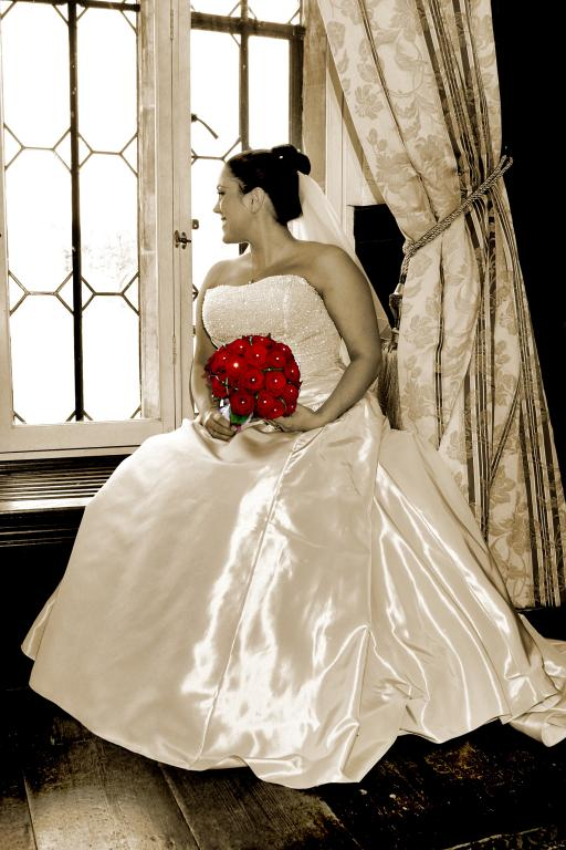 In a Sepia tone mood with a bride in waiting