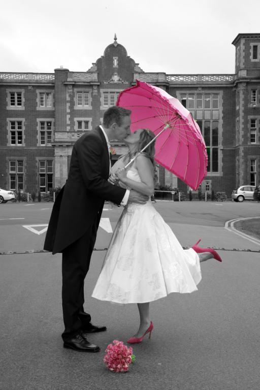 Black and White Bride and Groom with a hint of Pink Weddings